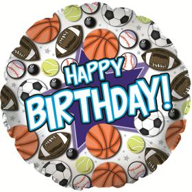 18 inch Foil Mylar Circle Happy Birthday Sports Balloon
