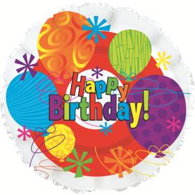 18 inch Foil Mylar Circle Happy Birthday Bright Balloon