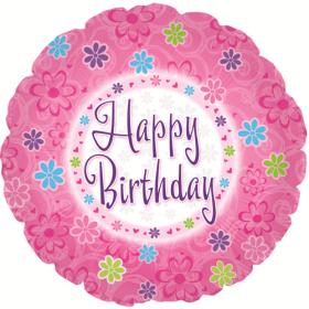 18 inch Foil Mylar Circle Pinkish Happy Birthday Balloon