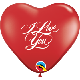 11 inch Qualatex I Love You Script Ruby Red Heart Shape Latex Balloons - 50 count