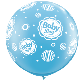 Qualatex New Baby Boy Dots Around 36 inch Latex Balloons - 2 count