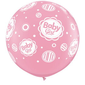 Qualatex New Baby Girl Dots Around 36 inch Latex Balloons - 2 count