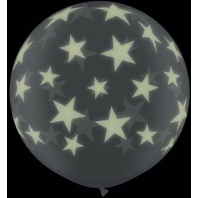 Qualatex Big Glow in the Dark Stars Around 36 inch Diamond Clear Latex Balloons - 2 count