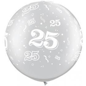Qualatex Metallic Silver 25th Anniversary 30 inch Latex Balloons - 2 count