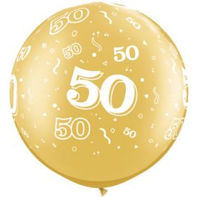 Qualatex Metallic Gold 50th Anniversary 30 inch Latex Balloons - 2 count