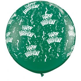 Qualatex Happy Birthday Around Emerald Green 36 inch Latex Balloons - 2 count