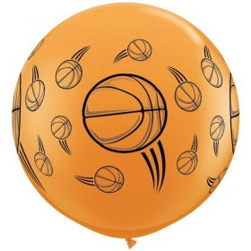 Qualatex Basketball Design Wrap Print 36 inch Latex Balloons - 2 count