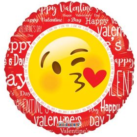 18 inch Happy Valentine's Smiley with Kiss Foil Mylar Circle Balloon