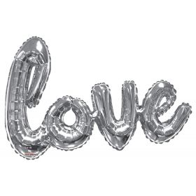 36 inch Silver Script Love Shape Foil Mylar Balloon - AIR FILL