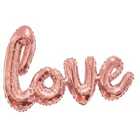 36 inch Rose Gold Script Love Shape Foil Mylar Balloon - AIR FILL