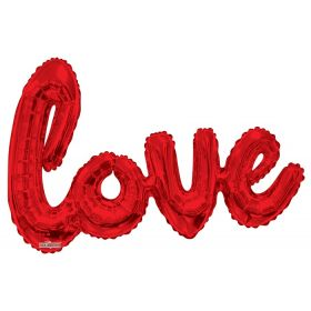 36 inch Red Script Love Shape Foil Mylar Balloon - AIR FILL