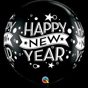 Qualatex Happy New Year Confetti Dots Black 36 inch Latex Balloons - 2 pack