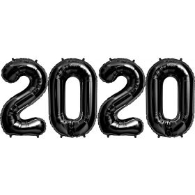 34 inch Black Foil 2020 Number Balloon Set