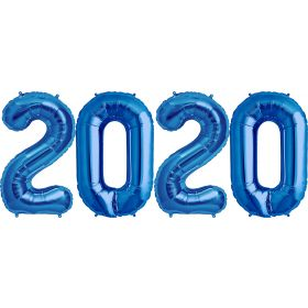 34 inch Blue Foil 2020 Number Balloon Set