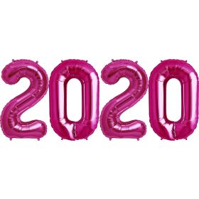 34 inch Magenta Foil 2020 Number Balloon Set