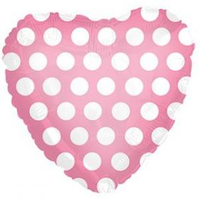 18 inch Foil Mylar Heart Pink with White Polka Dots