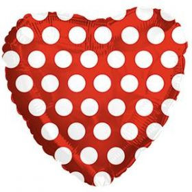 18 inch Foil Mylar Heart Red with White Polka Dots