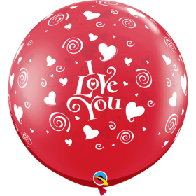 Qualatex I Love You Swirling Hearts 36 inch Ruby Red Latex Balloons - 2 count