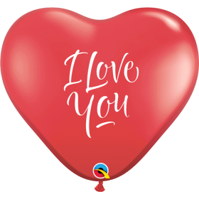 Qualatex I Love You Script Modern 36 inch Ruby Red Heart Shape Latex Balloons - 2 count