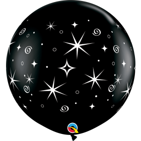 Qualatex Sparkles and Swirls Black 36 inch Latex Balloons - 2 pack