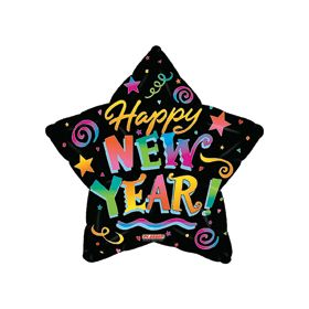 18 inch Foil Mylar Happy New Year Star Balloon - Colorful Confetti Black