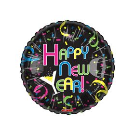 18 inch Foil Mylar Happy New Year Round Balloon - Colorful Confetti Black