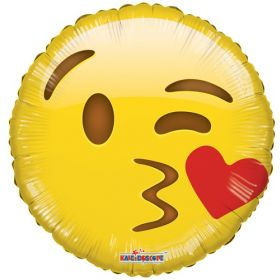 18 inch Smiley Kiss Emoticon Foil Mylar Circle Balloon