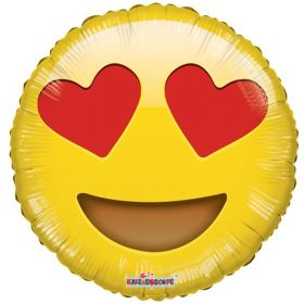 18 inch Smiley In Love Emoticon Foil Mylar Circle Balloon