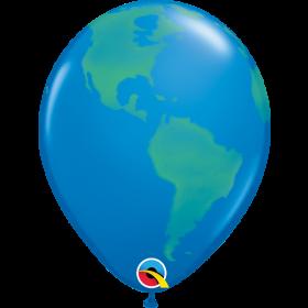 11 inch Qualatex Earth Globe Latex Balloons - 50 count