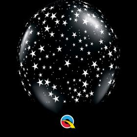 Qualatex 11 inch Black Stars Around Latex Balloons - 50 count