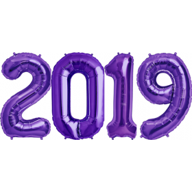 34 inch Purple Foil 2019 Number Balloon Set