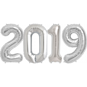34 inch Silver Foil 2019 Number Balloon Set