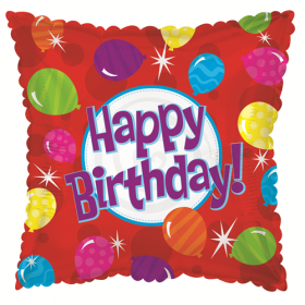 18 inch Foil Mylar Square Happy Birthday Bright Balloons Balloon