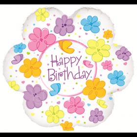 18 inch Foil Mylar Flower Shape Happy Birthday Flowers & Butterflies Balloon