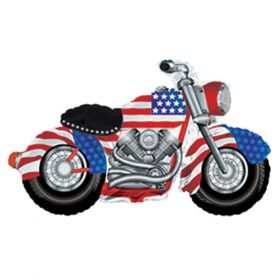36 inch Patriotic Motorcycle Shape Foil Balloon