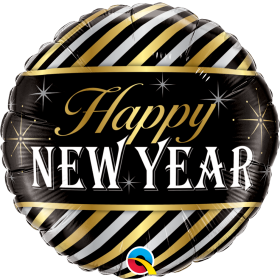 Qualatex 18 inch Foil Mylar Happy New Year Diagonal Stripes Round Balloon