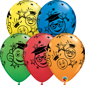 Qualatex 11 inch Graduation Smiley face Assorted Latex Balloons - 50 count