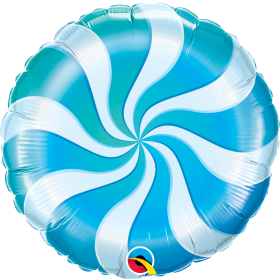Qualatex 18 inch Foil Mylar Blue Candy Swirl Round Balloon