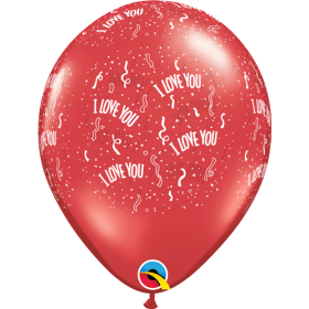 11 inch Qualatex I Love You All Around Latex Balloons - 50 count