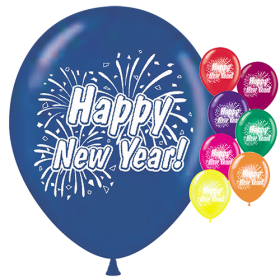 11 inch Happy New Year 2 Sided Crystal Assorted Latex Balloons - 100 count