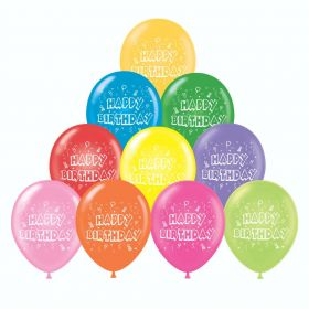 11 inch Tuf-Tex Happy Birthday 2 Sided Latex Balloons - 100 count