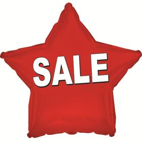 "18"" Foil Mylar Red Star Sale Balloon"