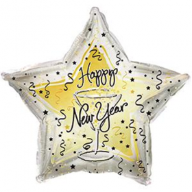 18 inch Foil Mylar New Year Toast Star Balloon - CTI