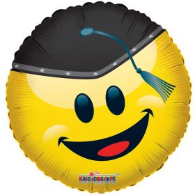 18 inch Smiley Face with Grad Cap Circle Foil Balloon