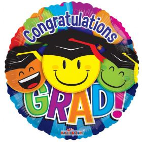 18 inch Congratulations GRAD Smiley Faces Circle Gellibean Balloon