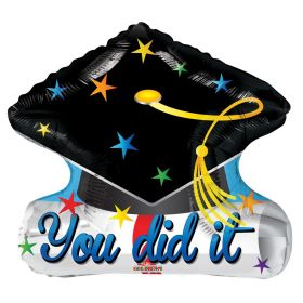 20 inch You Did It Grad Cap Shape Foil Balloon