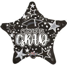 18 inch Congrats GRAD Star Foil Balloon - Black