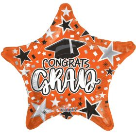 18 inch Congrats GRAD Star Foil Balloon - Orange