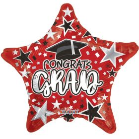 18 inch Congrats GRAD Star Foil Balloon - Red
