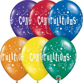 Qualatex 11 inch Congratulations Stars Assorted Latex Balloons - 50 count